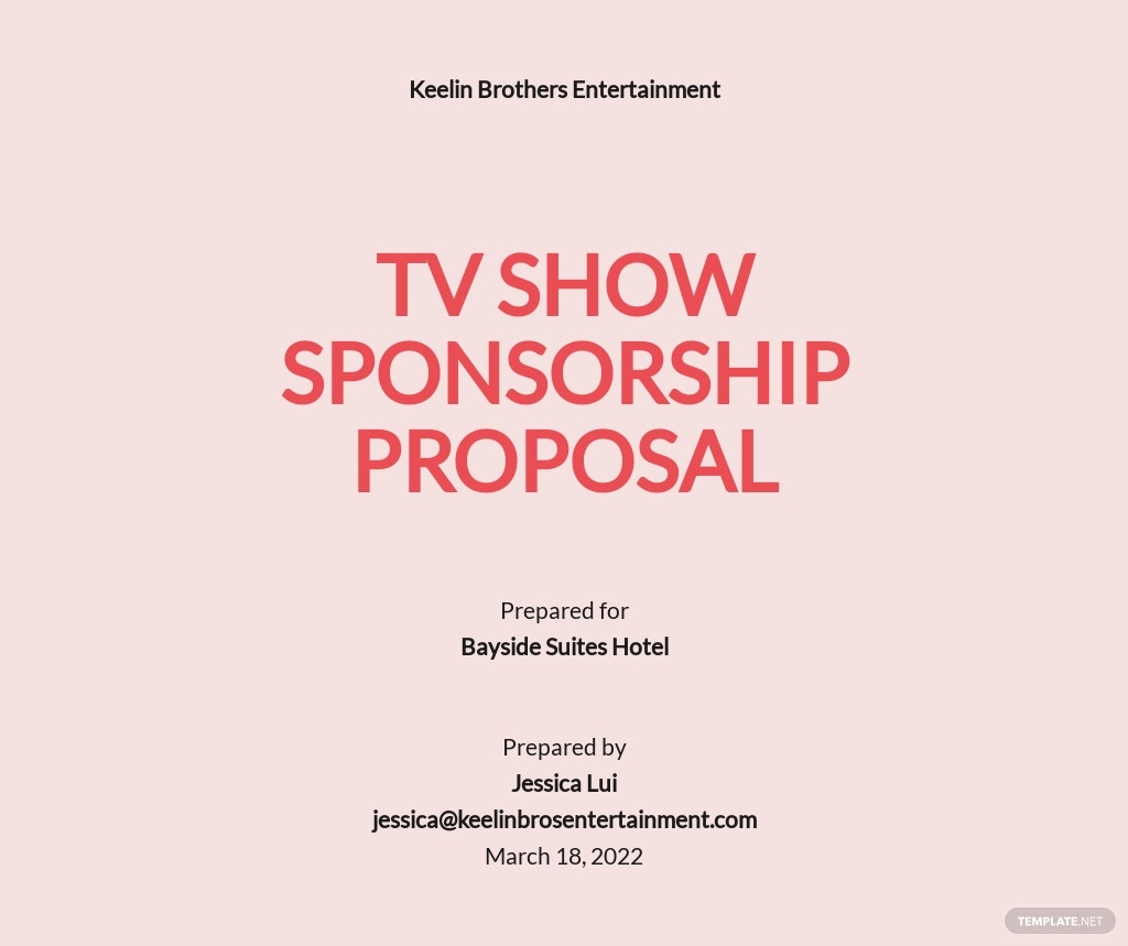 Tv Show Sponsorship Proposal Template
