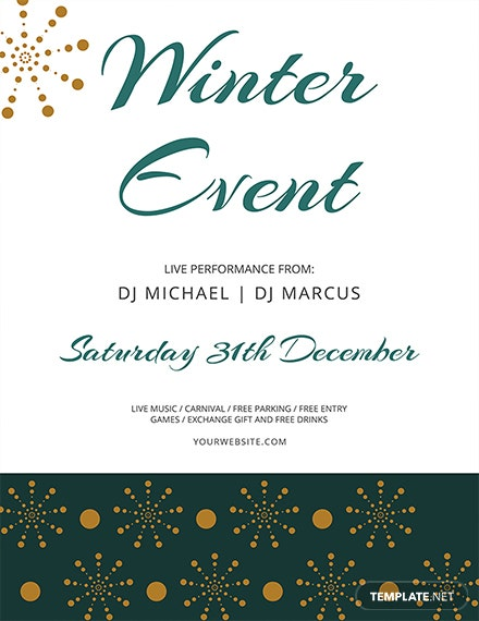free winter events flyer template 1x