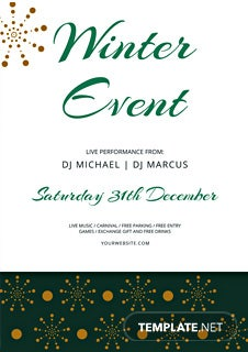 Free Winter Events Flyer Template