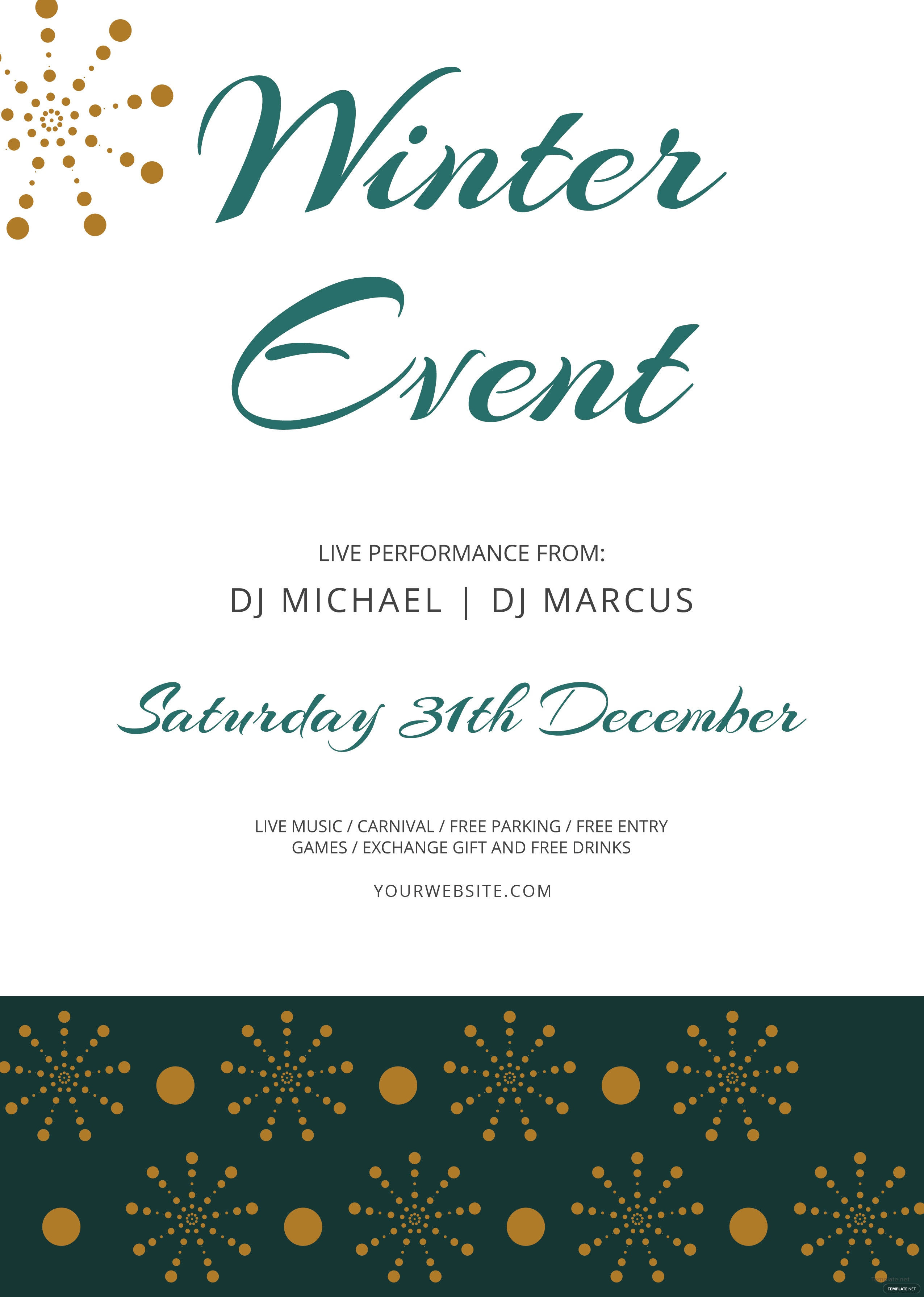 free winter events flyer template in adobe photoshop