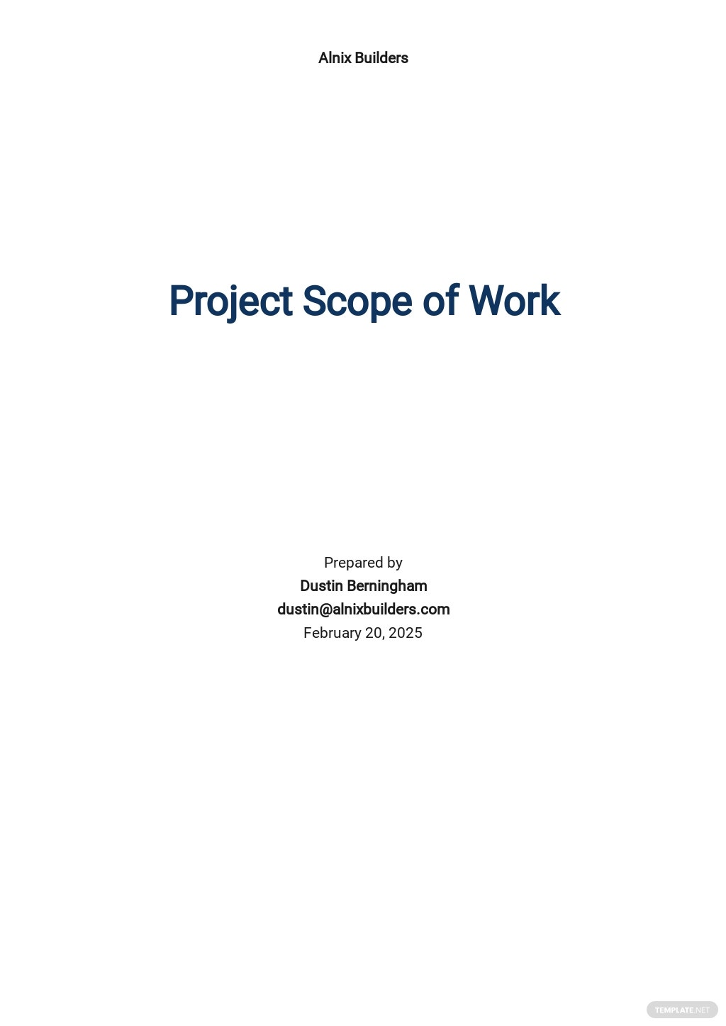 Project Scope of Work Template