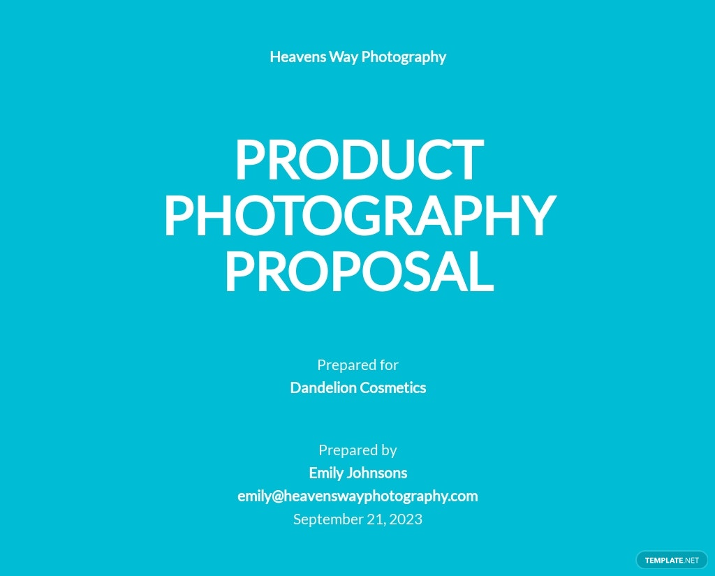 Product Photography Proposal Template