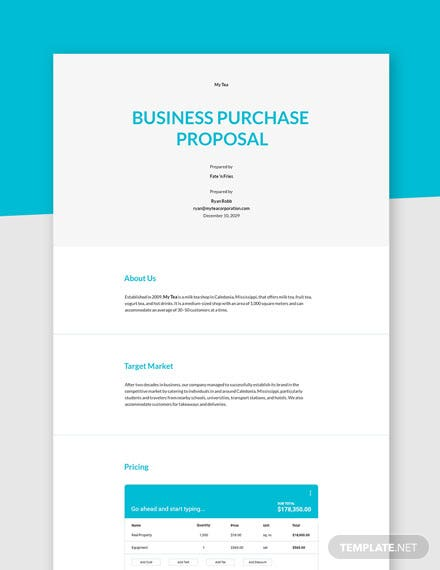 Business Purchase Proposal Template