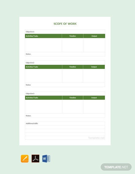Free Simple Scope of Work Template