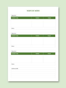 Simple Scope of Work Template