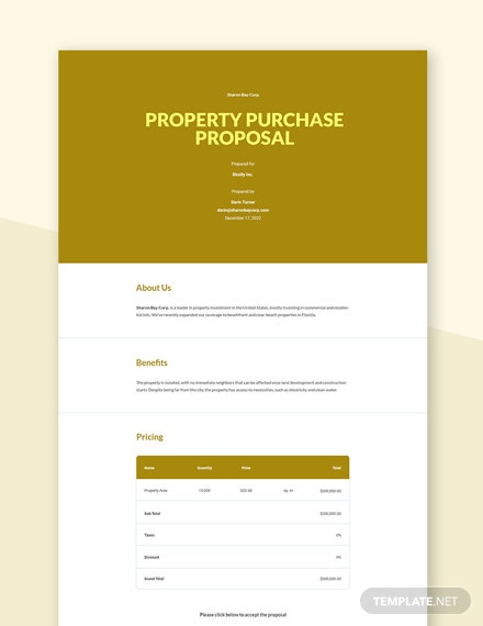 Property Purchase Proposal Template