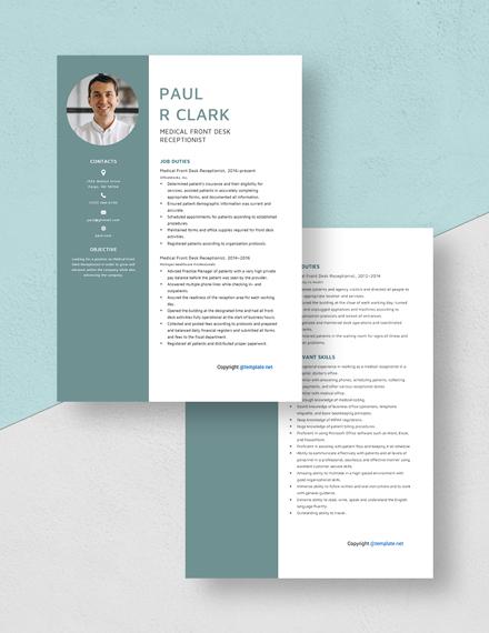 Medical Front Desk Receptionist Resume Download