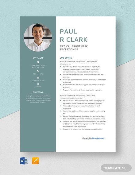 Free Medical Front Desk Receptionist Resume Template