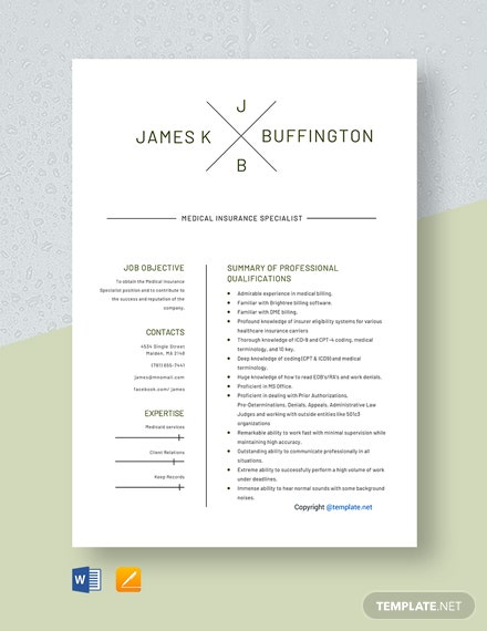 Free Medical Insurance Specialist Resume Template