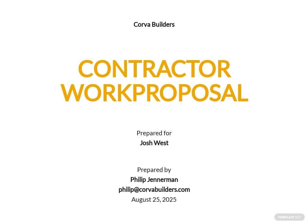 Contractor Work Proposal Template