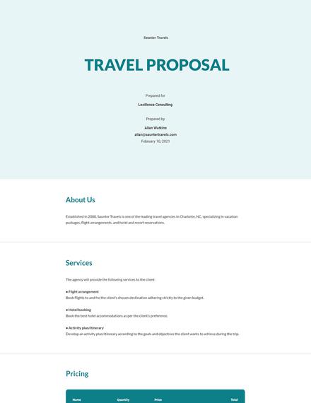 Free Sample Travel Proposal Template
