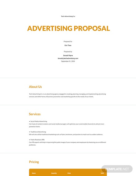 Free Simple Advertising Proposal Template