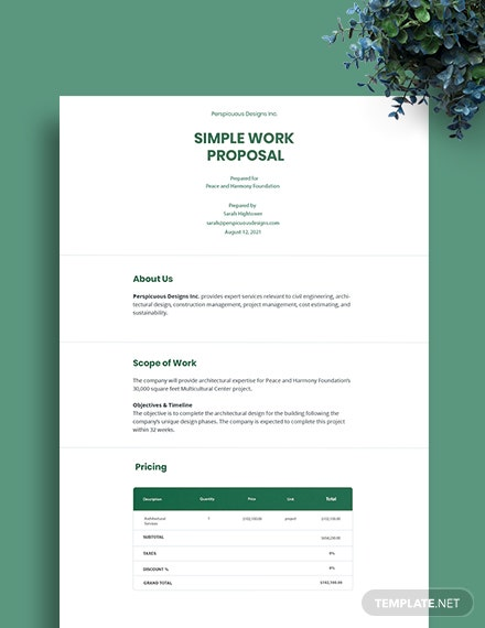 Free Simple Work Proposal Template