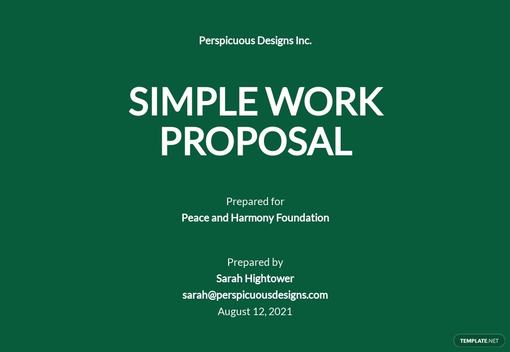 Simple Work Proposal Template