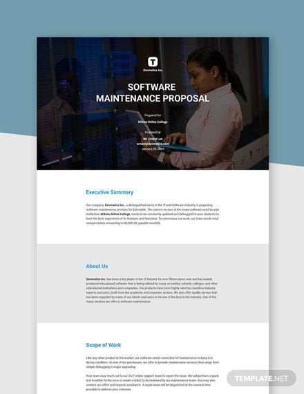 Software Maintenance Proposal Template