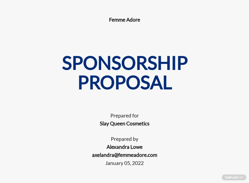 Basic Sponsorship Proposal Template