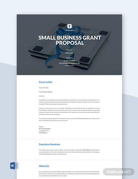 Small Business Grant Proposal Template