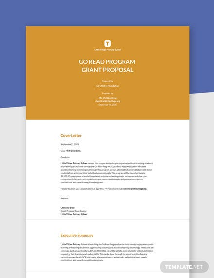 Editable Free Basic Grant Proposal Template