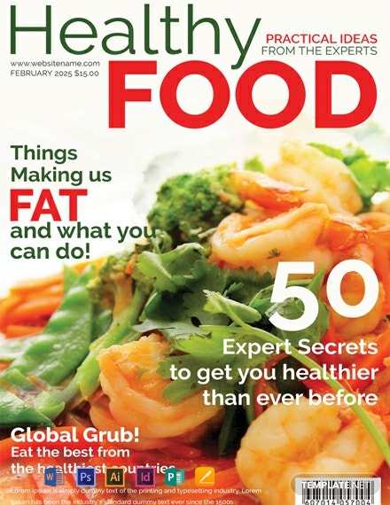 free healthy food magazine cover template 440x570 1