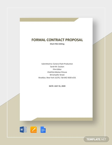 Free Formal Contract Proposal Template