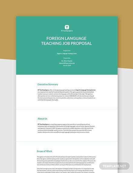 Free Formal Job Proposal Template