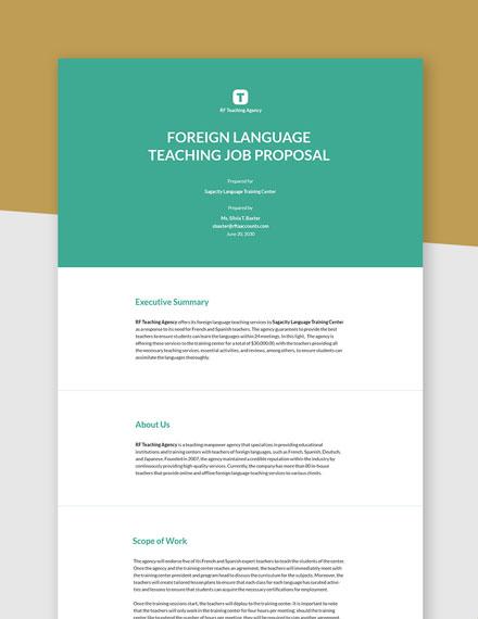 Free Formal Job Proposal Template