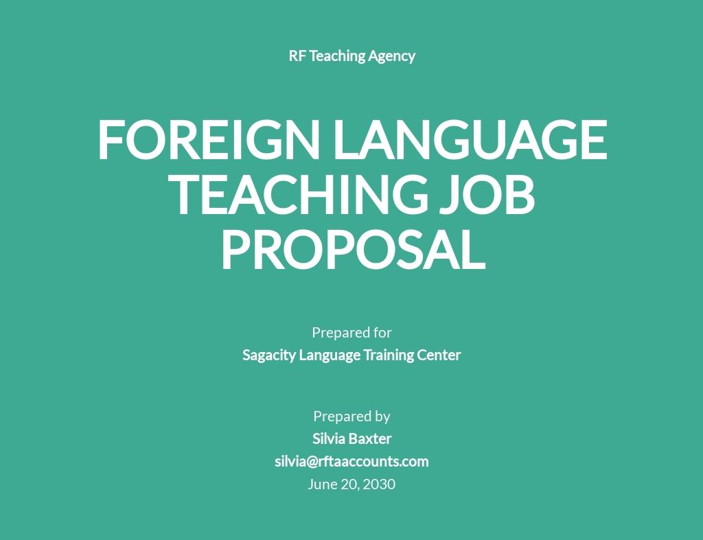 Formal Job Proposal Template