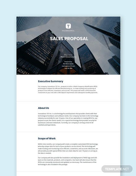 Free Modern Sales Proposal Template