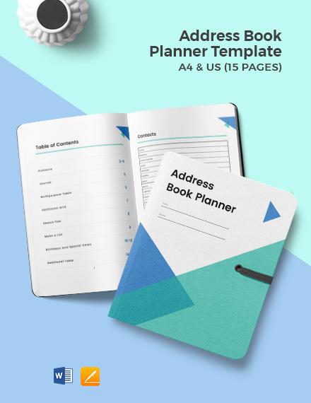 Address Book Planner Template