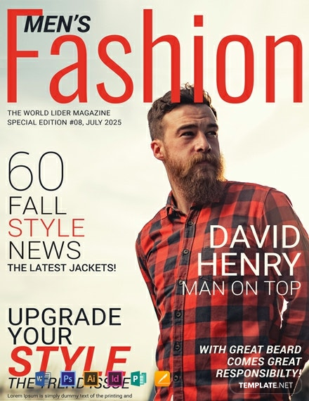 Free Men S Fashion Magazine Cover Template Word Psd