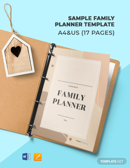 Free Sample Family Planner Template