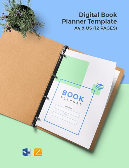 Digital Book Planner Template