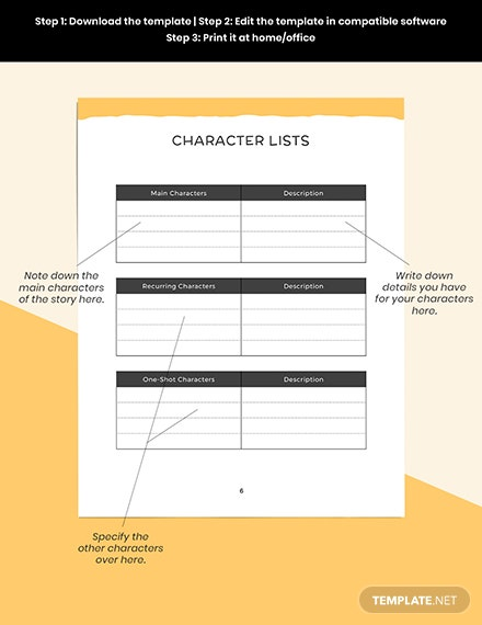 Writers Story Planner Example