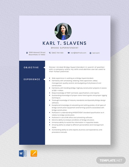 Bridge Superintendent Resume Template