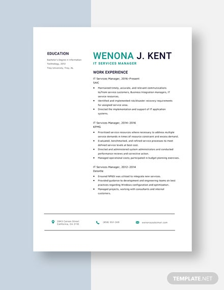 IT Services Manager Resume Template