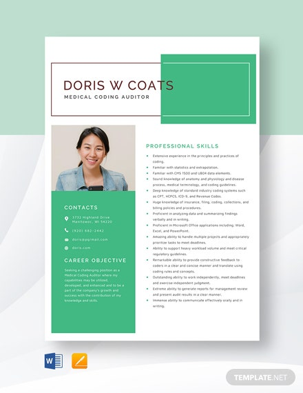 Medical Coding Auditor Resume Template