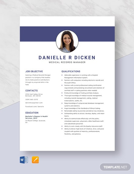 Medical Records Manager Resume Template