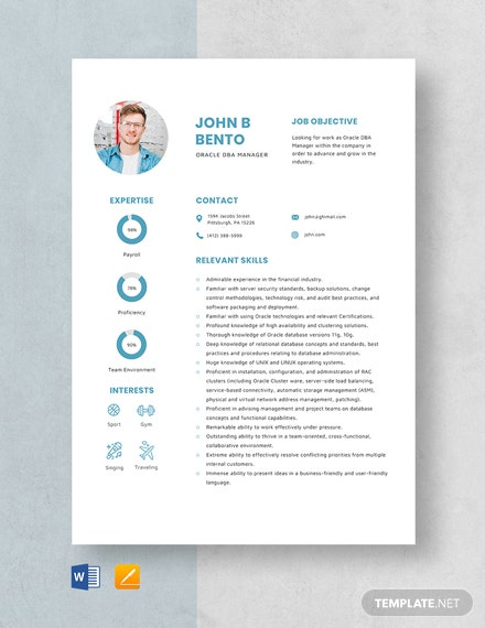 Oracle DBA Manager Resume Template