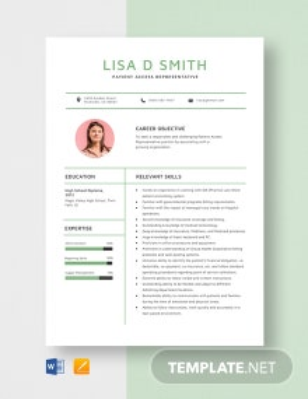 Patient Access Representative Resume Template