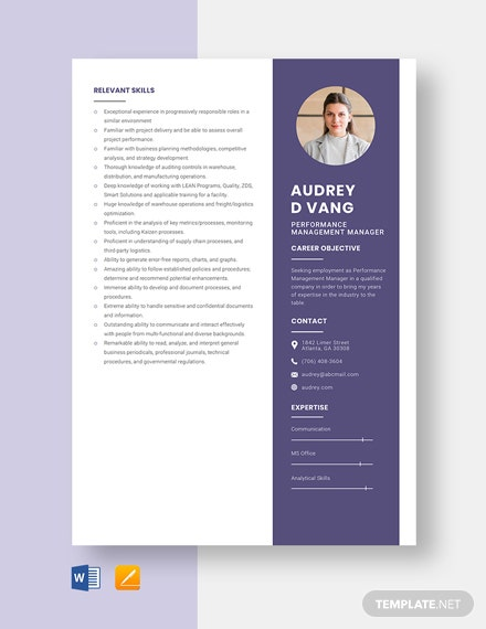 Performance Management Manager Resume Template