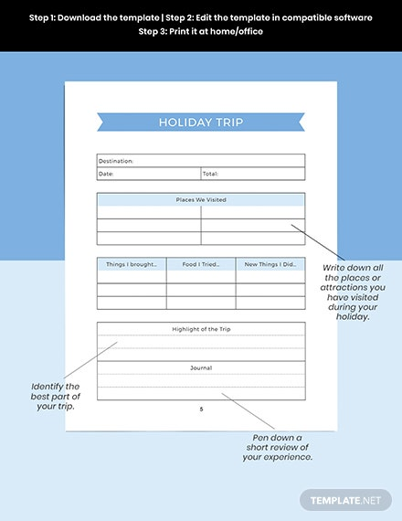 Editable Holiday Story Planner