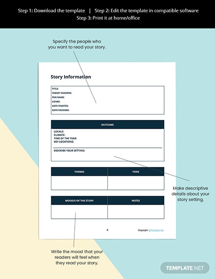 Printable Story Planner Template Sample