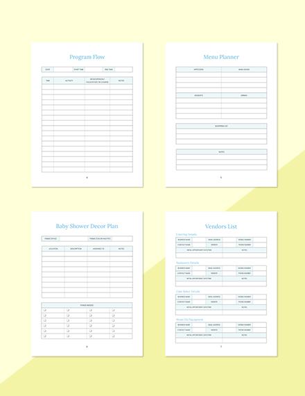 Gift List Baby Shower Planner Editable