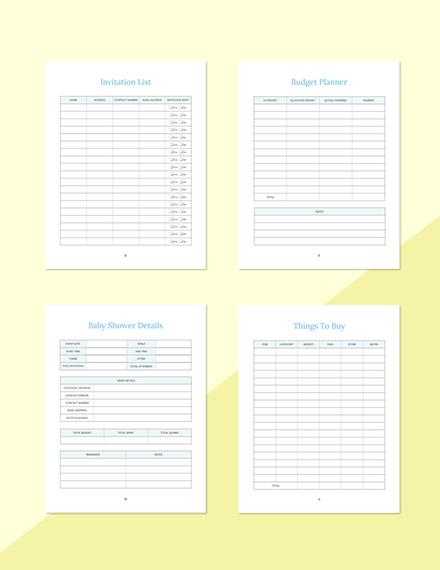 Gift List Baby Shower Planner Format