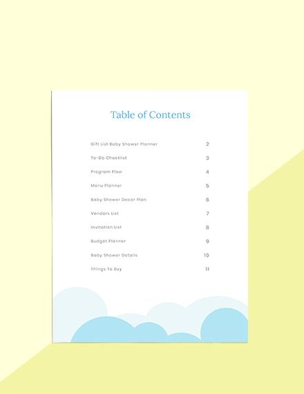 Gift List Baby Shower Planner Printable