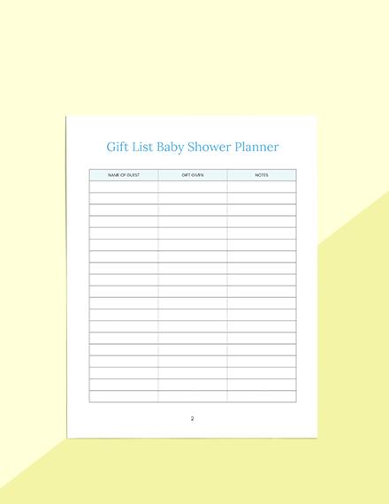 Gift List Baby Shower Planner Sample