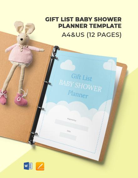 Gift List Baby Shower Planner Template