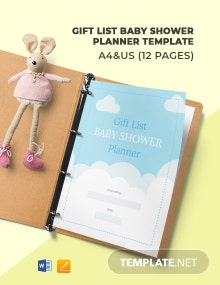 Gift List Baby Shower Planner Template