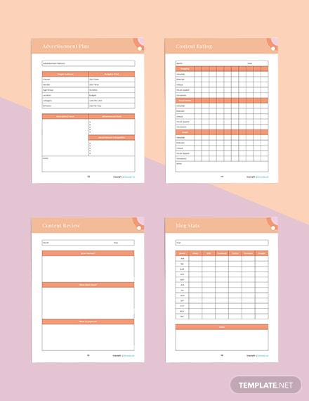 sample blog Planner Editable
