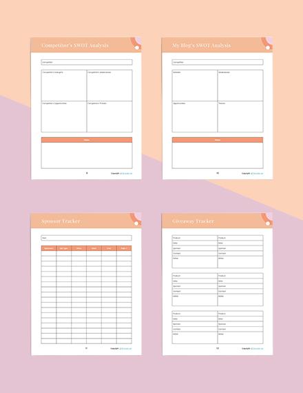 sample blog Planner Printable